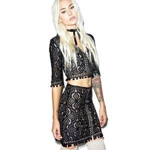 For Love & Lemons Florence Mini Skirt Crochet Lace